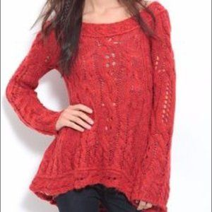 Free People Red Oversized Knit Sweater